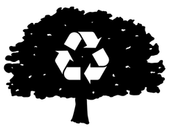 Black and white illustration of a tree with the recycling logo in its branches