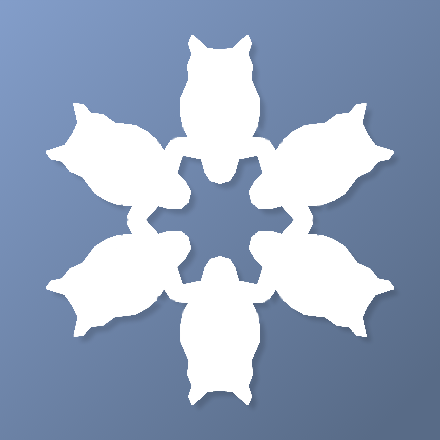Template for a paper snowflake with six horned owls